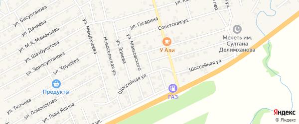 Шоссейный переулок на карте села Джалка Чечни с номерами домов
