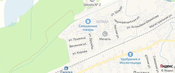 Крайняя улица на карте села Джалка Чечни с номерами домов