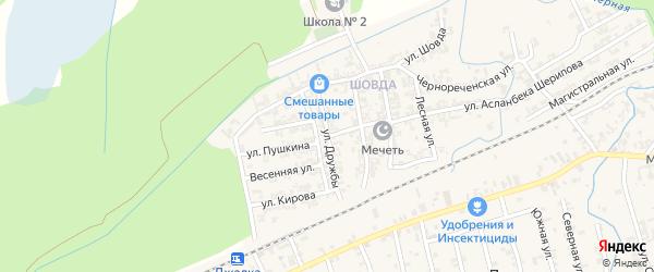 Улица Дружбы на карте села Джалка Чечни с номерами домов