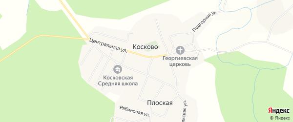 Карта села Косково в Вологодской области с улицами и номерами домов