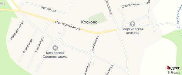 Спортивная улица на карте села Косково Вологодской области с номерами домов