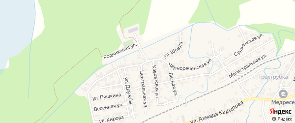 Кавказская улица на карте села Джалка Чечни с номерами домов