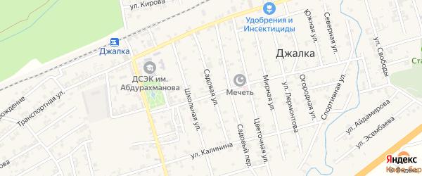 Садовая улица на карте села Джалка Чечни с номерами домов