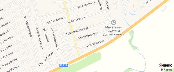 Молодежная улица на карте села Джалка Чечни с номерами домов