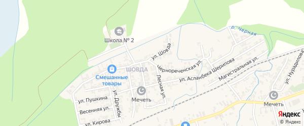 Чернореченская улица на карте села Джалка Чечни с номерами домов