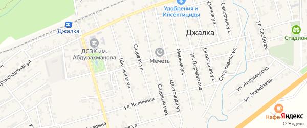 Садовый переулок на карте села Джалка Чечни с номерами домов