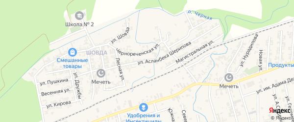 Улица А.Шерипова на карте села Джалка Чечни с номерами домов