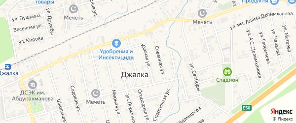 Южная улица на карте села Джалка Чечни с номерами домов