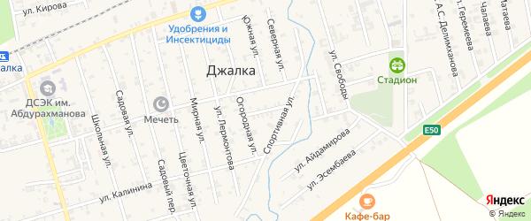 Спортивный переулок на карте села Джалка Чечни с номерами домов