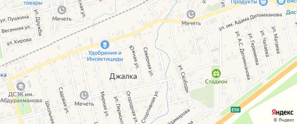 Северная улица на карте села Джалка Чечни с номерами домов