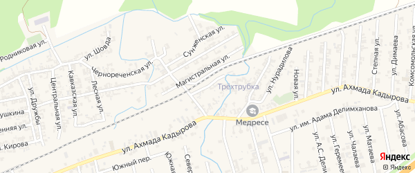 Железнодорожная улица на карте села Джалка Чечни с номерами домов