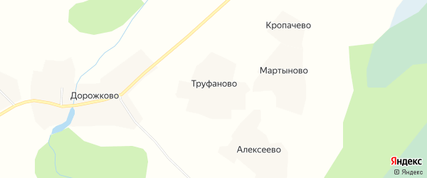 Карта деревни Труфаново в Вологодской области с улицами и номерами домов