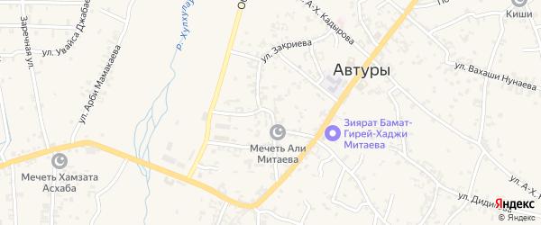 Улица Ш.Закриева на карте села Автуры Чечни с номерами домов