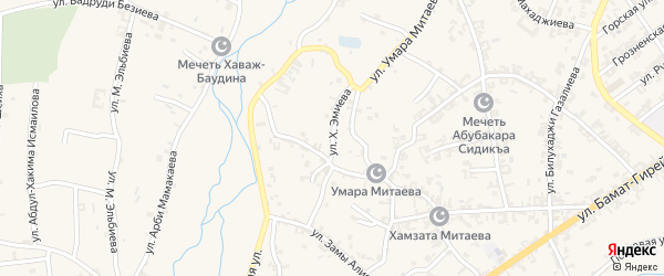 Улица Х.Эмиева на карте села Автуры Чечни с номерами домов
