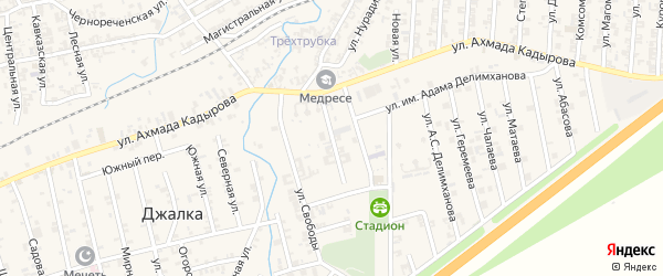Улица Хататаева на карте села Джалка Чечни с номерами домов