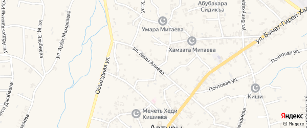 Улица им Замы Алиева на карте села Автуры Чечни с номерами домов