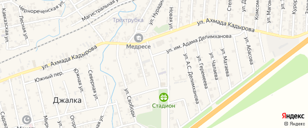 Улица Им Амхата Делимханова на карте села Джалка Чечни с номерами домов