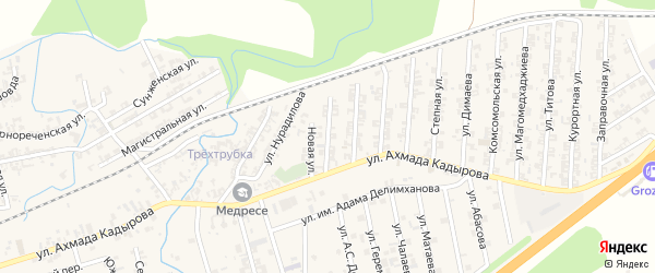 Улица Терешковой на карте села Джалка Чечни с номерами домов