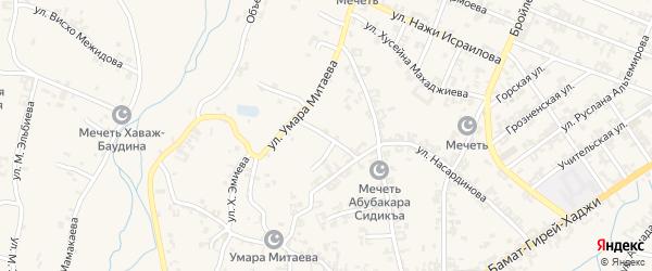 Юбилейный переулок на карте села Автуры Чечни с номерами домов