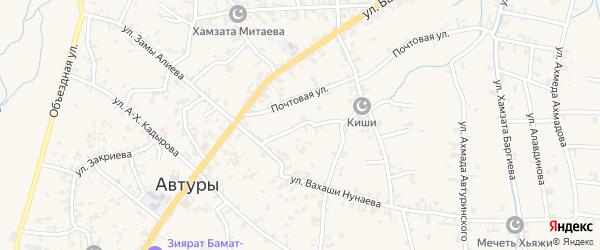 Короткий переулок на карте села Автуры Чечни с номерами домов