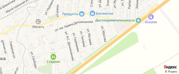 Улица Матаева на карте села Джалка Чечни с номерами домов