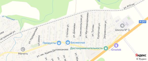 Улица Димаева на карте села Джалка Чечни с номерами домов