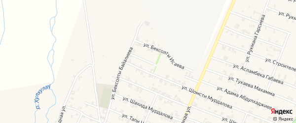 Переулок Шахида Исраилова на карте села Автуры Чечни с номерами домов