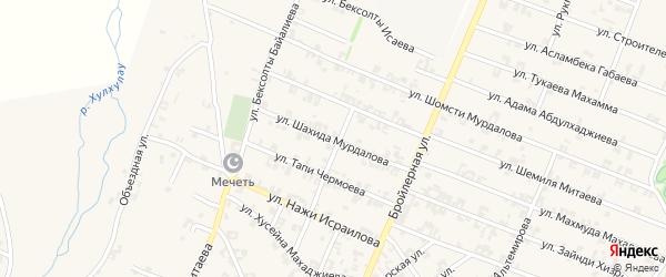 Улица Шахида Мурдалова на карте села Автуры Чечни с номерами домов