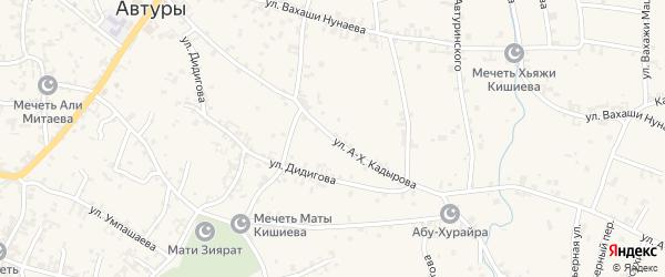 Улица А-Х.Кадырова на карте села Автуры Чечни с номерами домов