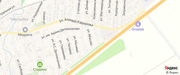 Улица Абасова на карте села Джалка Чечни с номерами домов