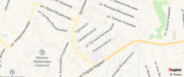 Заветная улица на карте села Автуры Чечни с номерами домов