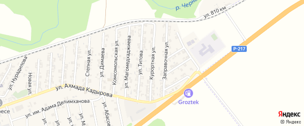 Курортная улица на карте села Джалка Чечни с номерами домов