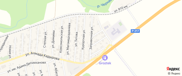Заправочная улица на карте села Джалка Чечни с номерами домов
