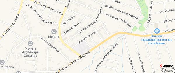 Учительская улица на карте села Автуры Чечни с номерами домов
