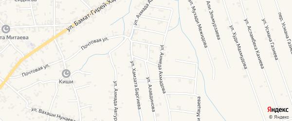 Переулок 2-й Х.Баргиева на карте села Автуры Чечни с номерами домов