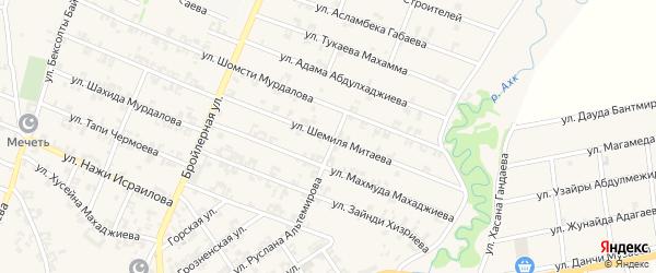 Улица Шемиля Митаева на карте села Автуры Чечни с номерами домов
