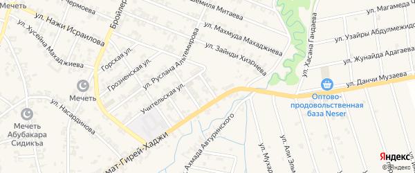 Переулок Весны на карте села Автуры Чечни с номерами домов