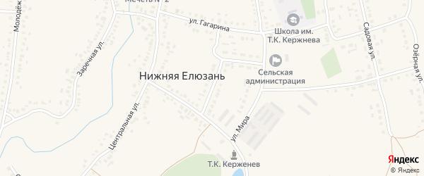 Совхозная улица на карте села Нижней Елюзани Пензенской области с номерами домов