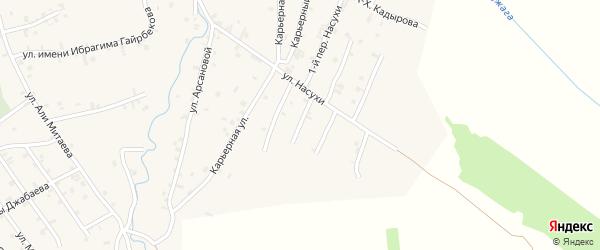 Переулок 4-й Насухи на карте села Автуры Чечни с номерами домов