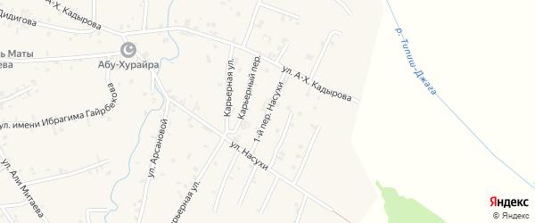 Переулок 1-й Насухи на карте села Автуры Чечни с номерами домов