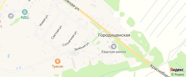 Зеленая улица на карте Ершевской деревни с номерами домов