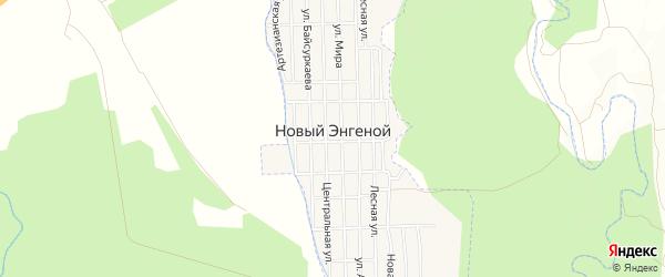 Карта села Нового Энгеной в Чечне с улицами и номерами домов