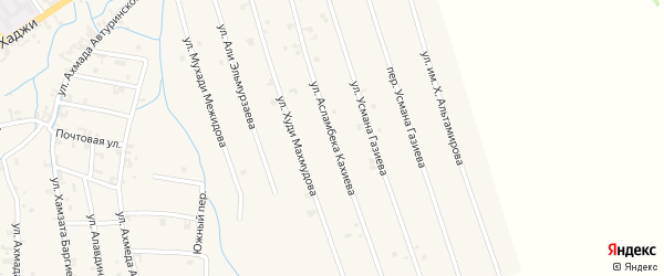 Улица Асламбека Кахиева на карте села Автуры Чечни с номерами домов