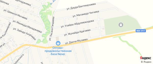 Улица Жунайда Адагаева на карте села Автуры Чечни с номерами домов