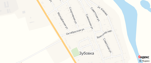 Октябрьская улица на карте села Зубовки Астраханской области с номерами домов