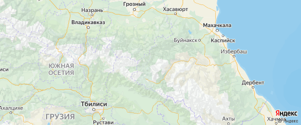 Карта Цумадинского района Республики Дагестана с городами и населенными пунктами