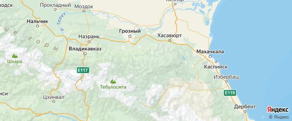 Карта Веденского района Республики Чечни с городами и населенными пунктами