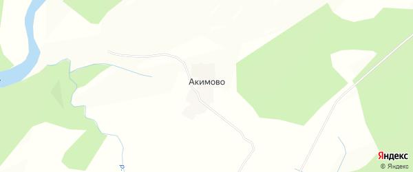 Карта деревни Акимово в Вологодской области с улицами и номерами домов