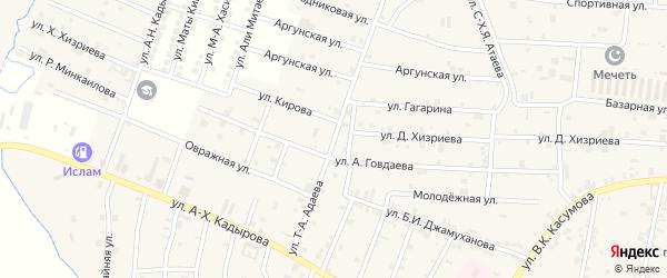 Крайняя улица на карте села Курчалой Чечни с номерами домов