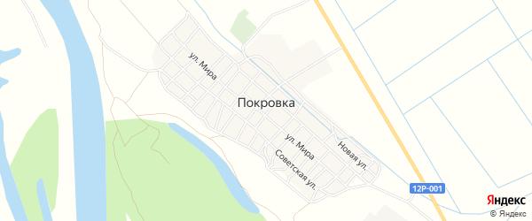 Садовое товарищество КСТ Восход-1 на карте села Покровки Астраханской области с номерами домов